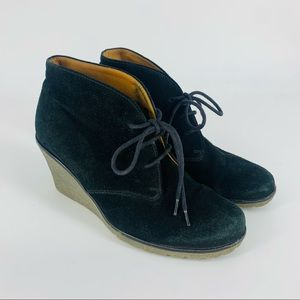 GABOR Elen Black Suede Leather Wedge Ankle Booties